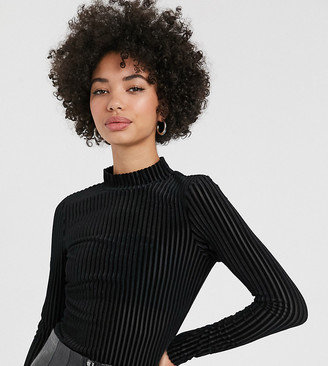 Monki velvet ribbed long sleeve top in black
