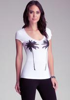 Bebe Palm Tree V-Neck Tee