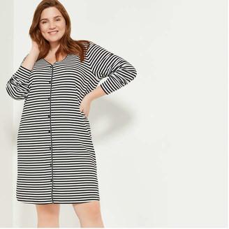 Joe Fresh Women+ Stripe Long Cardi, Black (Size 3X)