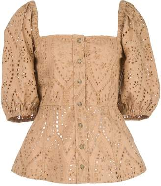 Ganni Embroidered Half Sleeves Blouse