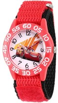 Disney 3 Lightning McQueen Boys' Red Plastic Time Teacher Watch, Red Hook and Loop Nylon Strap with Black Backing