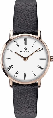 Accurist Womens Stainless Steel Japanese Quartz Watch With Genuine Leather Strap Clear Roman Numeral Dial Slimline Case Splash Resistant 2 year guarantee.