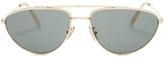 Celine Aviator Metal Sunglasses - Womens - Green Gold
