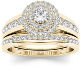 MODERN BRIDE 7/8 CT. T.W. Diamond 10K Yellow Gold Halo Bridal Ring Set