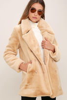LuLu*s Fabulous Feeling Beige Faux Fur Coat