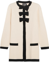 Moschino Bow-embellished Wool And Cotton-blend Jacket - White