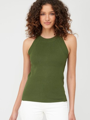 Very Button Back Detail Knitted Vest - Khaki