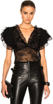 Rodarte Lace Trim and Laser Cut Detail Blouse