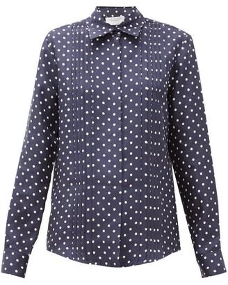 Gabriela Hearst Mirtha Polka-dot Pintucked Silk-twill Shirt - Womens - Navy White