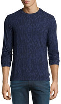 Armani Collezioni Jacquard Diamond-Print Long-Sleeve Shirt, Blue