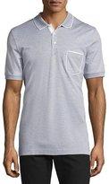 Salvatore Ferragamo Cotton 3-Button Polo Shirt with Gancini Detail on Pocket, Gray