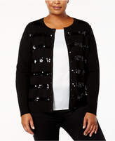 Charter Club Plus Size Sequin-Striped Cardigan, Created for Macy's