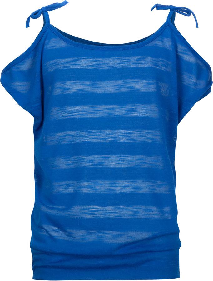 Full Tilt Shadow Stripe Girls Cold Shoulder Top