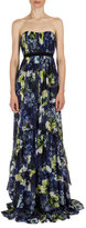 Erdem Simona Strapless Floral-Print Silk Gown, Navy/Yellow