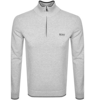 BOSS Athleisure Half Zip Logo Sweatshirt Grey