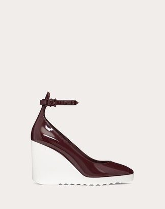 Valentino White Wave Patent Leather Wedge 100 Mm / 3.9 In. Women Rubin 100% Pelle Di Vitello - Bos Taurus 40
