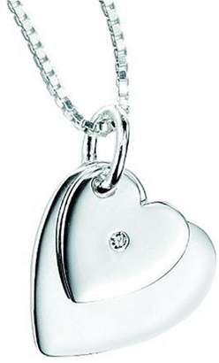 D for Diamonds D for Diamond Double Heart Pendant on a Chain of Length 35cm
