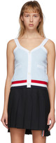 Thom Browne Blue and White Seersucker V-Neck Tank Top