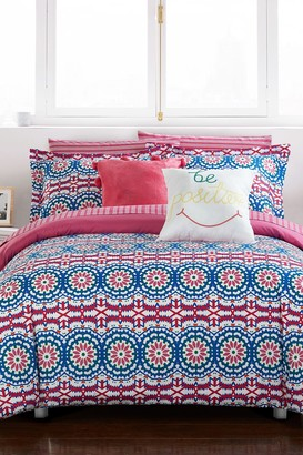 Full Imelda Reversible Contemporary Floral Bohemian Printed Comforter 9-Piece Set - Fuschia