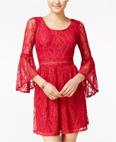 Amy Byer Juniors' Bell-Sleeve Lace Dress
