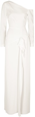 Roland Mouret Salona white ruffle-trimmed gown