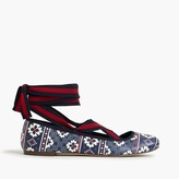 J.Crew Lily lace-up ballet flats