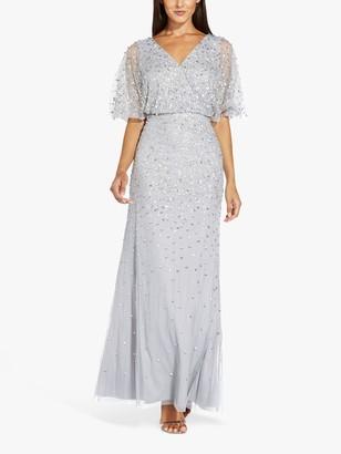 Adrianna Papell Beaded Sleeve Maxi Gown, Silver Mist