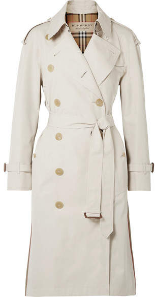 Burberry The Trecastle Striped Cotton-gabardine Trench Coat