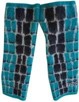 Fendi Turquoise Wool Gloves