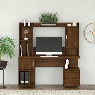 Kathy Ireland Home by Bush Furniture Madison Avenue Desk with Hutch Color: Modern Walnut