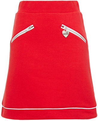 Love Moschino French Cotton-blend Terry Mini Skirt