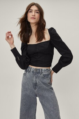 Nasty Gal Womens Black Straight Neckline Crop Top with Blouse Sleeves