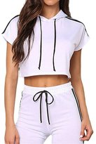 Min Qiao Women's Casual Stripes Hoodie Crop Top Long Pants Two Pieces Set Sport Suits Outfits