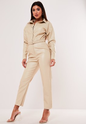 Missguided Cream Faux Leather Button Down Jumpsuit