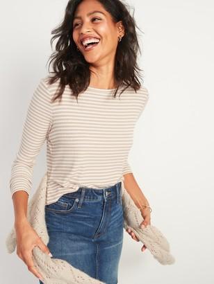 Old Navy Luxe Rib-Knit Metallic-Stripe Long-Sleeve Tee for Women