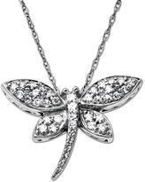 Lord & Taylor Diamond Dragonfly Pendant in 14 Kt. White Gold, 0.2 ct. t.w.