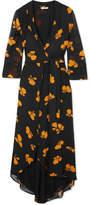 Ganni Fairfax Floral-print Chiffon Wrap Dress - Black