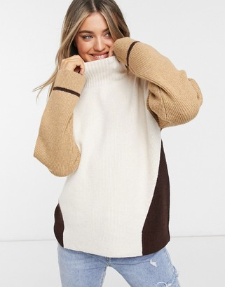 French Connection color block sweater in taupe multi