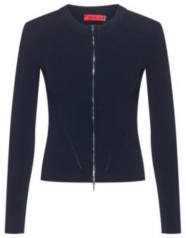 HUGO BOSS Slim-fit knitted jacket with two-way zip
