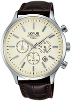 Lorus Rt313fx9 Chronograph Date Leather Strap Watch, Brown/cream
