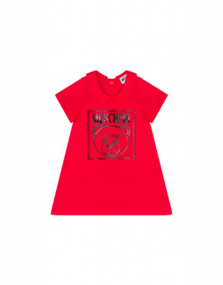 Moschino Teddy Label Dress Unisex Red Size 2a It - (2y Us)