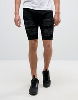 SikSilk Extreme Super Skinny Denim Shorts In Black With Distressing