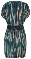 Akiko Teal Rain Stream Belted Silk Surplus Dress