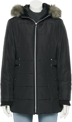 Details Petite Side Tab Faux Fur Trimmed Hood Puffer Jacket