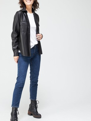 HUGO BOSS Casual Black Faux Leather Blouse
