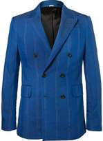 Stella McCartney Cobalt Slim-fit Double-breasted Pinstriped Linen-blend Suit Jacket