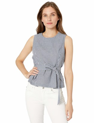 Nine West Women's Sleeveless Gingham Blouse with SELF Belt