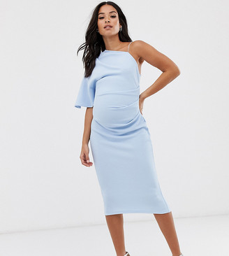 ASOS DESIGN Maternity baby shower one shoulder strap detail midi dress