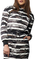 KENDALL + KYLIE Distressed Stripe Quilted Bomber Jacket