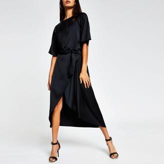 River Island Womens Black drape knot Front midi dress